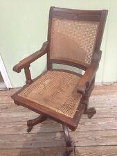 Vintage Antique Gunlocke Style Caned Dark Walnut Bankers Office Swivel Chair