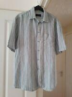 Super Men's White Multi Striped Summer Shirt, 100% Linen, Size M (Chest 38/40'')