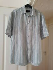 Super Men's White Multi Striped Summer Shirt, 100% Linen, Size M (Chest 38/40'')