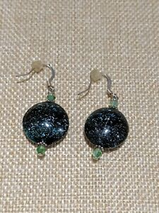 Artisan Silver Tone Black Glitter Galaxy Glass Dangle Earrings