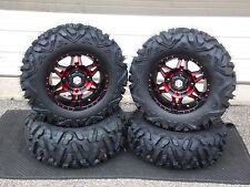 "KAWASAKI TERYX 27"" QUADKING 14"" HD7 RED ATV TIRE & WHEEL KIT  KAWL8"
