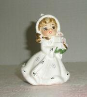 Vintage NAPCO Christmas Shopper Girl Angel Candle Holder Presents X-8388