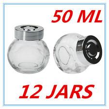 12 X MINI CLEAR GLASS SPICE JAR JARS WITH SILVER LIDS 50ML KITCHEN STORAGE AP