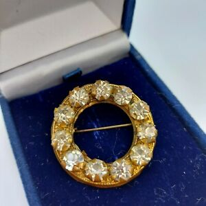 Old Vintage Gold Tone Circle Brooch, Large Clear Paste Stones,  C Clasp