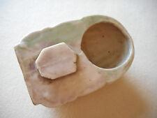 Vintage Japan Green & White Ceramic Bird Feeder