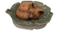 Miniature 2� Fox Sleeping On A Leaf Figurine Signed 1991 Christmas By Eve