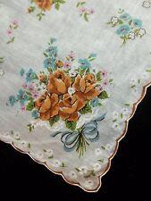Vintage Brown Roses & Blue Flowers Print Hankie Floral Printed Handkerchief 321