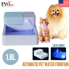 LED Automatic Pet Water Drinking Filter Fountain Bowl Dogs Cats Drinker