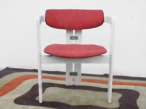 Augusto Savini design Pamplona Chairs Pozzi Italy 1965 rare optic textile orange
