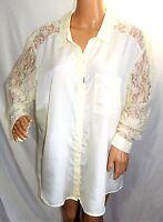 Ali & Kris Women Plus Size 3x Egret Pale Yellow  Top Button Down Shirt Blouse