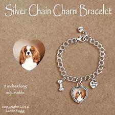 Cavalier King Charles 00004000  Spaniel Fawn - Charm Bracelet Silver Chain & Heart