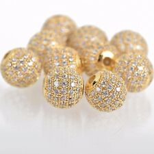 2 Gold Micro Pave' Round Beads w/ Cubic Zirconia Crystals 10mm bme0430