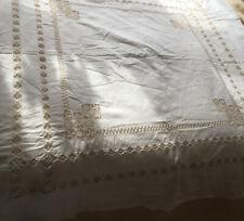 Large Vintage Irish White Linen Tablecloth Embroidery Crochet Edge Cotton