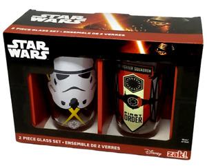 Star Wars Drinking Glasses First Order Rule Galaxy Galactic Imperial Trooper NIB