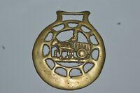 Vintage Brass Medallion Cart & Horse Harness Horse Tack Bridle Ornament Equestri