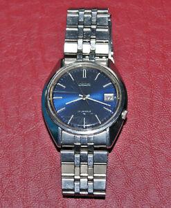 Vintage Seiko Automatic 17 Jewels Men's Wrist Watch. Blue Face 7025-8120P, Works