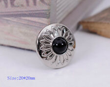 10X Black Bead Charm Bling Silver Sun Flower Leather Wallet Western Conchos