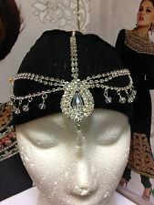 White Silver Diamante Head Piece Hair Chain Matha Patti Earrings Jewellery Set
