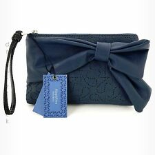 SIMPLY VERA WANG Clutch CADET BLUE WRISTLET Perforated with BOW Purse HANDBAG