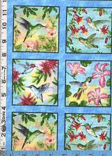 Fabric Elizabeth HUMMINGBIRDS flowers post card Blue border PANEL oop