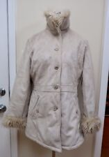 Women's Faux Fur Collar Suede Coat Jack. Size M to L. Ship Free!