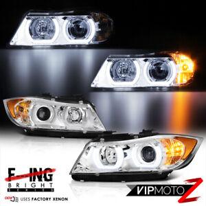 [Bi-Xenon Adaptive] 2005-2008 BMW 3-Series Sedan Chrome Headlights Head Lamps