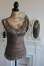 BNWT Faust Jewel Beige Top Cowl Neck Sleeveless Tulle Sequin T2 8 10 RRP99 -55%!