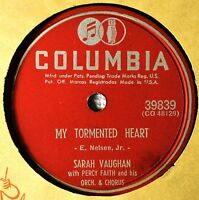 Sarah Vaughan My Tormented Heart 78 NM Say You'll Wait for Me Female Vocal Jazz