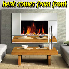 Electric Glass Wall Fire Fireplace Mirror Mounted Stylish Flicker Flame Heater