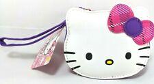NEW! Sanrio Hello Kitty Pouch Bag Embroidered Applique White Purple Pink Strap ~