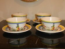 4 HENRIOT QUIMPER CUPS & SAUCERS MADE FOR ROTISSERIE NORMANDE RESTAURANT