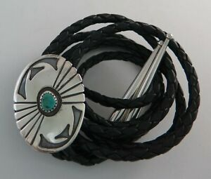 Sterling on Sterling Silver Overlay with Turquoise Southwestern Bolo Tie