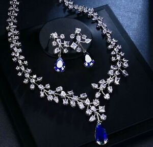 Blue Sapphire & Lab Diamond Pendant Necklace Earrings Set 18K White Gold Finish