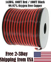 14 AWG Gauge Red Black Speaker Wire 12 Volt Automotive Power Cable Copper 100 FT