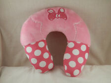 "Disney Minnie Bow  Travel Neck pillow 10"" Pink & White Polka Dot Infant size"