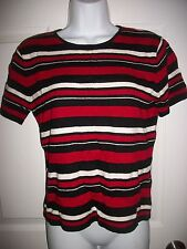 Kasper and CO. Women's Black & Red Striped Short Sleeved Sweater Size M