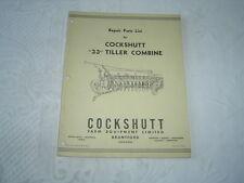 Cockshutt 33 tiller combine parts list catalog manual