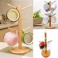 6 Hook Bamboo Coffee Mug Holder Tea Cup Storage Hanger Rack Kitchen Stand Tree