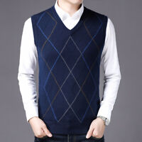 New Mens Knitted Vest Casual Business Waistcoat Sweater Pullover V-neck Coat