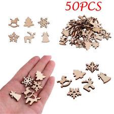 50Pcs Natural Wood Christmas Ornament Reindeer Snowflakes Xmas Tree Decoration
