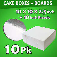 Cake Boxes 10 x 10 x 2.5 10 Pc + 10 Pc Boards 10 Inches Round Silver Bulk