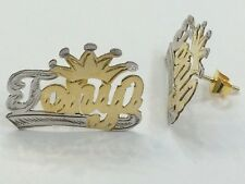 14k Gold Overlay Personalized Stud Name Earrings with crown