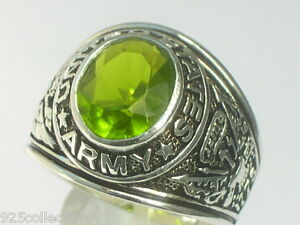 925 Sterling Silver United State Army Military August Peridot Men Ring Size 11