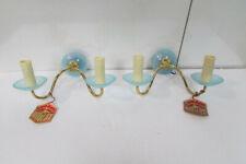 Paire d'appliques , deux feux , Opaline bleue