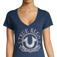 True Religion Women's Crystal Embellished Big Horseshoe Deep V-Neck Tee T-Shirt