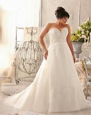 wedding dress white ivory corset plus size 14 16 18 20 22 24 26 28 lace up 3155