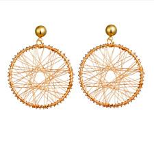Gold Thread Dreamcatcher Earrings ~ Wire Wrap Jewellery Style 40