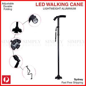 Walking Stick Cane Folding With Light LED Strap Handle Black Metal Adjustable