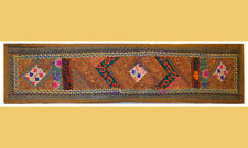 Antique Hand Embroidered Stone Work Green Runner, Wall Tapestry from India