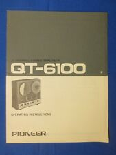 Pioneer QT-6100 Owner Manual & Schematic Diagram Factory Original The Real Thing